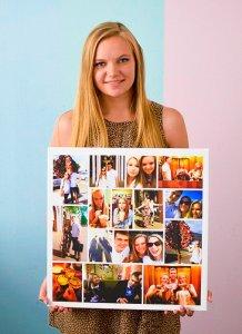 картина фотоколлаж в руках у девушки