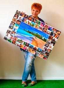 картина фотоколлаж в руках у женщины