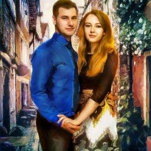 Фотография пары обработанная под живопись арт-портрет