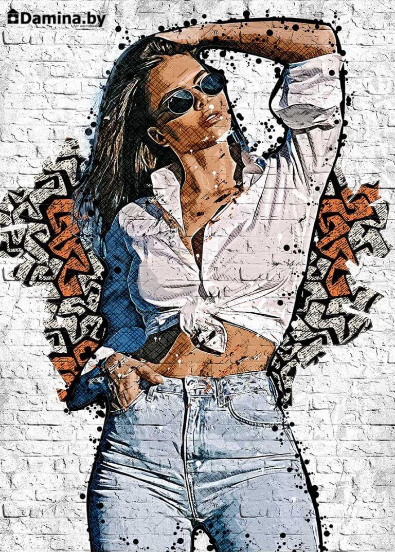 Девушка нарисованная на кирпичной стене